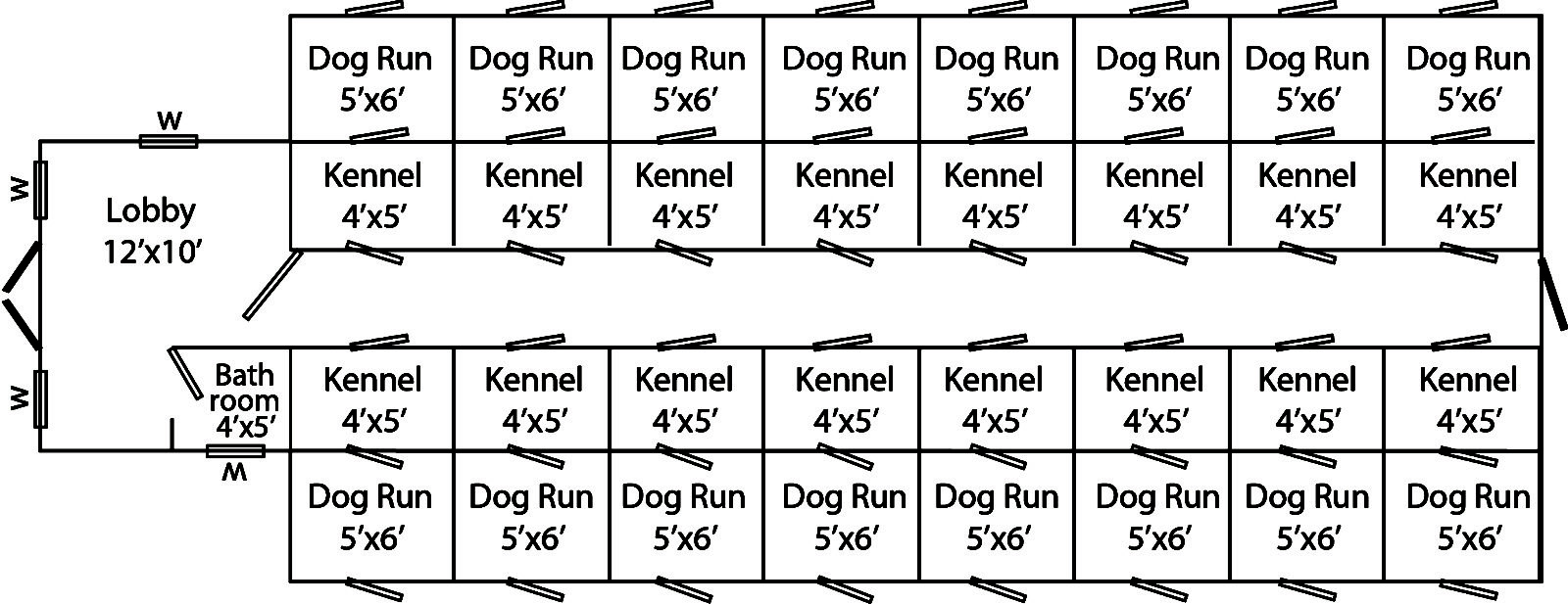 dog kennels for shelters 12x50 sixteen run traditional