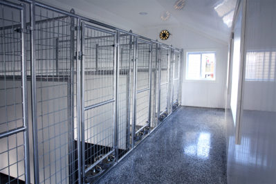 10x28 dog kennel interior