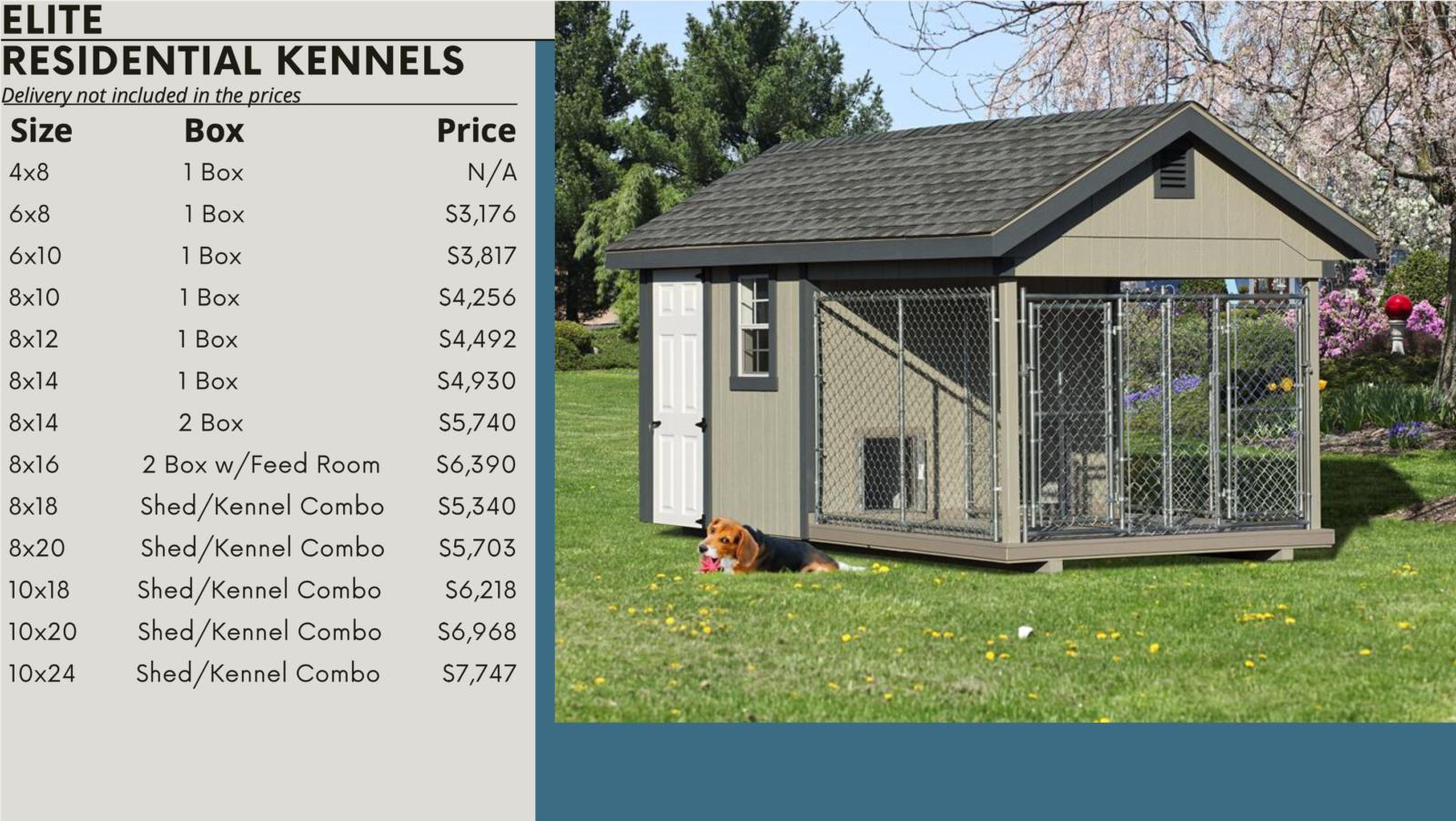elite dog kennel prices