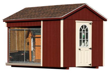 8x12 amish dog kennel red alt